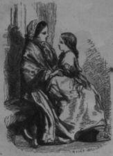 A girl sits on a woman's lap.