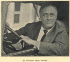 Franklin Roosevelt looks out from a car.