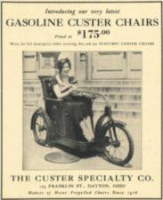 Advertisement for a gasoline-powered wheelchair.