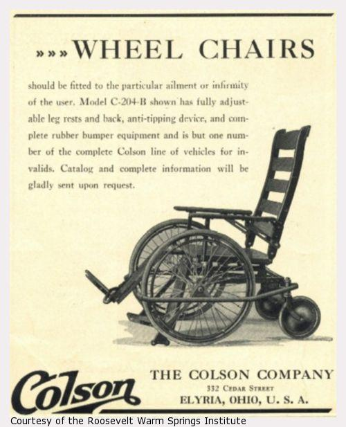 Advertisement for an adjustable wheelchair.