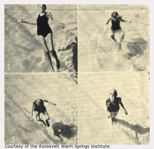 Four photographs of a boy swimming.