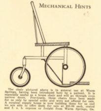A drawing of the basic wheelchair in use at Warm Springs.