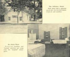 Photographs of a building and a room with four bed.