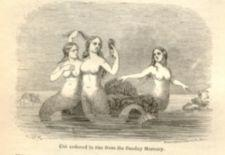 Three mermaids on an ocean rock, one holding a hand mirror.