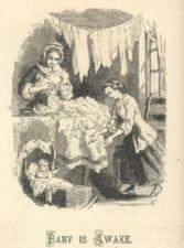 A woman tends to laundry while a baby wakens in a cradle.