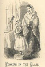 A woman watches as a girl in a bonnet looks into a mirror.