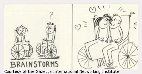 A cartoon of a wheelchair built for two young people in love.