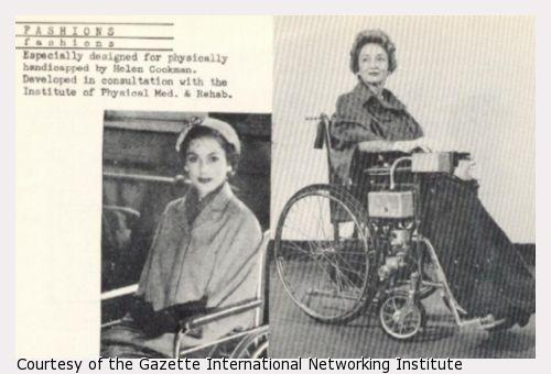 Two photographs of a woman in a wheelchair wearing a cape.