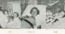 Three photographs of young women, two with respirators.