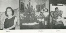 Three photographs, one showing two children next to Christmas tree.