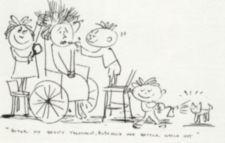 A drawing of woman in a wheelchair with children applying make-up.