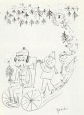 Drawing of a row of Christmas celebrants led by a young man in a wheelchair.
