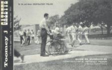 Campus scene with a young woman in a wheelchair.