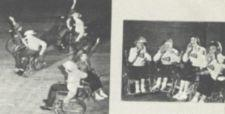 Photographs of people square dancing in wheelchairs and of four cheerleaders in wheelchairs.