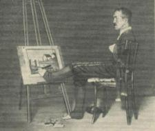 A man paints with his foot.
