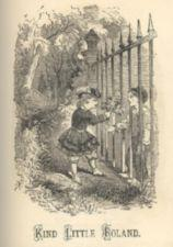 A child in fancy dress passes flowers through an iron fence to a child in simple dress.