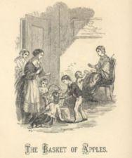 Women and children surround a basket of apples.