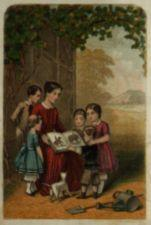 A color picture of a woman under a tree showing a book of animal pictures to a group of children