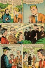 Comic book panels of a young man speaking with his family at a high school graduation.