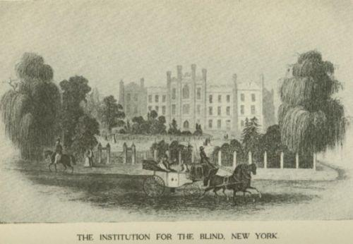 An engraving of an ornate building with trees and an iron fence.