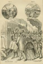 Men carry a woman to a waiting train while a crowd looks on.