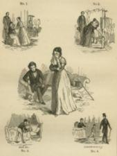 A series of illustrations of a woman being separated from her children.