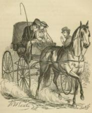 A weeping young man and a young woman in a horse-drawn buggy.