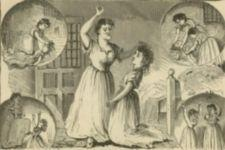 A series of images of a woman abusing a feamale patient.