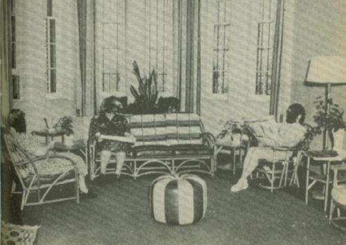 Three women sits in a couch and chairs.  The rooms has a lamp, curtains, and plants.