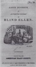 Title page of Happy Poverty; a lithograph of a woman with hair braided at a spinning wheel and another older woman in a shawl sitting on a bed