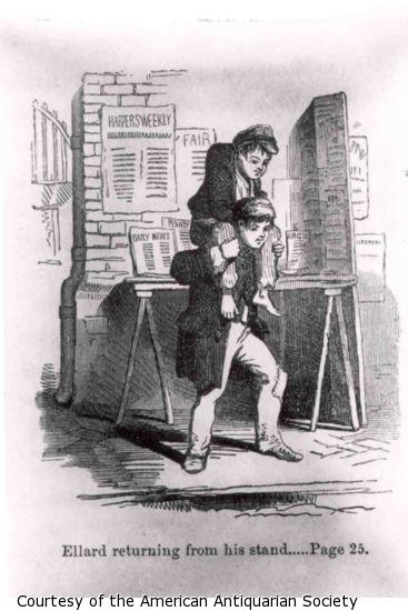 A boy with a hunched back is carried on the shoulders of another boy in front of a newstand.