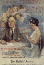 Children sing while a woman presents Franklin Roosevelt with a birthday cake.