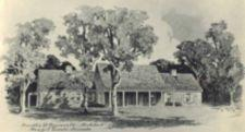 A drawing of Top Cottage, a stone building with pillars and trees in front.