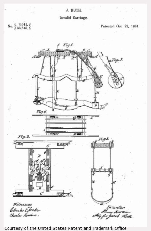 Design drawing of J. Ruth Invalid Carriage.