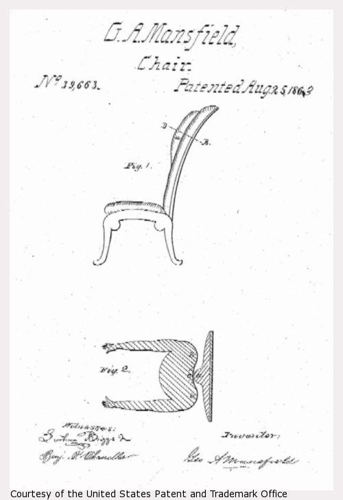 Design drawing of G.A. Mansfield chair.