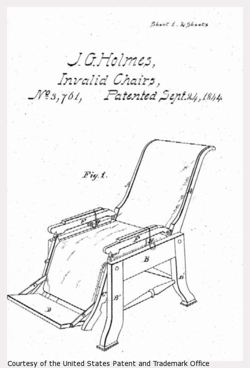 Design drawing for J.G. Holmes Invalid Chairs, sheet 1