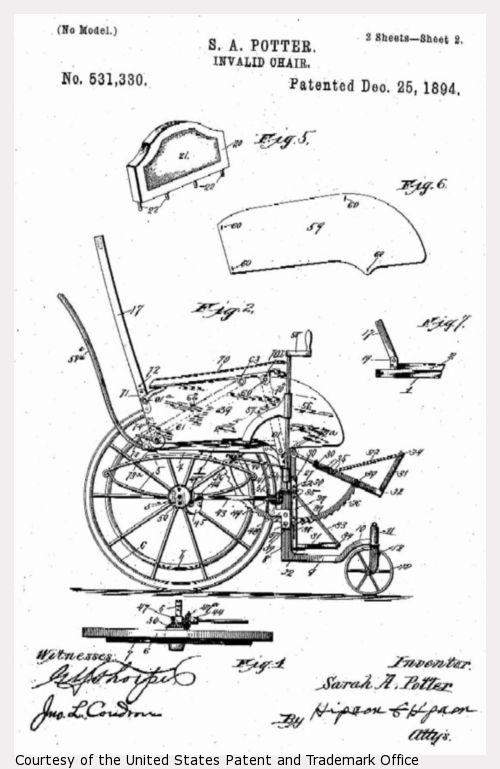 Design drawing for S.A. Potter Invalid Chair, sheet 2.