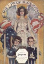 A young women, draped in an American flag, stands behind two childern holding a plaque.