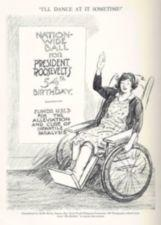 Drawing of a woman waving from a wheelchair.