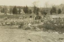 A row of men, with horses and wagons in background, work clearing the ground of debris.