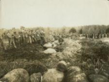 A large group of workers with pickaxes working in a row.