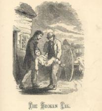 Two men carry a boy from wagon to house.