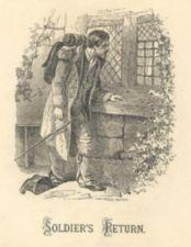Engraving of a weary looking soldier returning to his home.