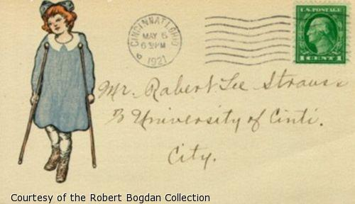 Front of postcard including a drawing of a girl in a blue dress using crutches.