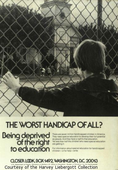 Closer Look poster, boy looking through chainlink fence at children.