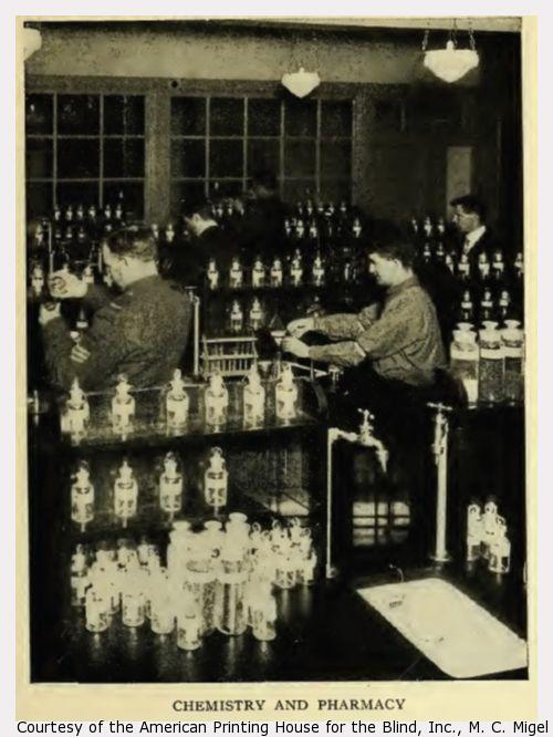 Five men working, surrounded by dozens of bottles.