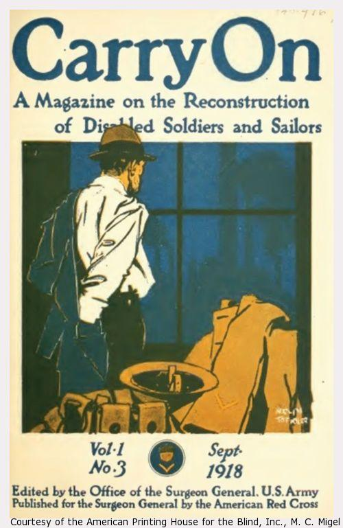 Cover of Carry On. Man in civilian clothes looks out window, uniform by his side.