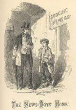 A man in a top hat talking with a newsboy.
