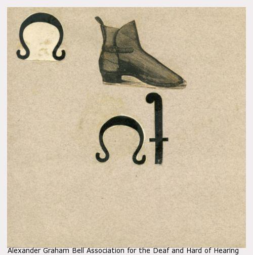A page from Sarah Fuller's vocabulary notebook with different symbols, resembling the letter f, a horseshoe, and a shoe.
