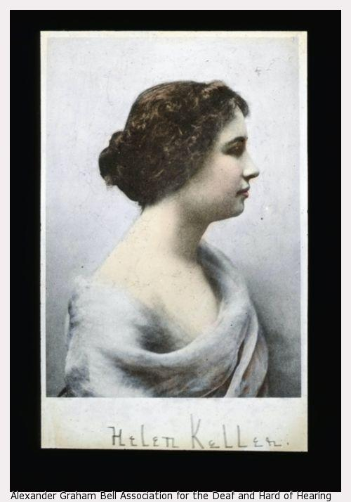 Helen Keller profile, facing right, with right shoulder exposed.